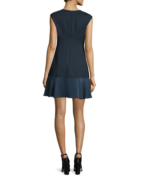 Sleeveless A-Line Pique Combo Dress, Navy