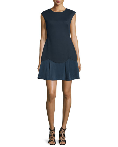 Rebecca Taylor Sleeveless A-Line Pique Combo Dress, Navy