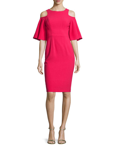 Cold-Shoulder Bell-Sleeve Sheath Dress