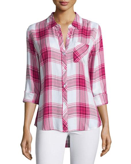 Hunter Plaid Long-Sleeve Shirt, Raspberry/White