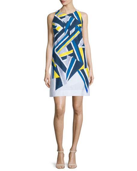 Milly Sleeveless Inkblot Printed Dress, Citron