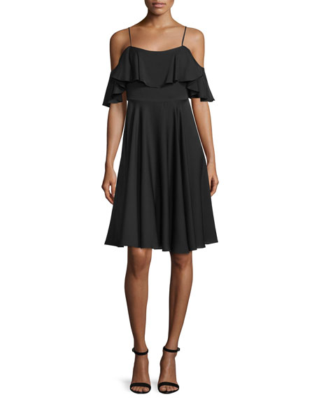 Milly Emmaline Cold-Shoulder A-Line Dress, Black