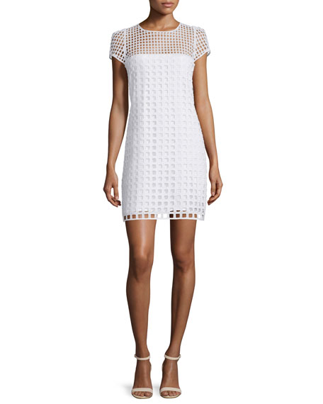 Milly Chloe Square-Eyelet Cotton Mini Dress, White