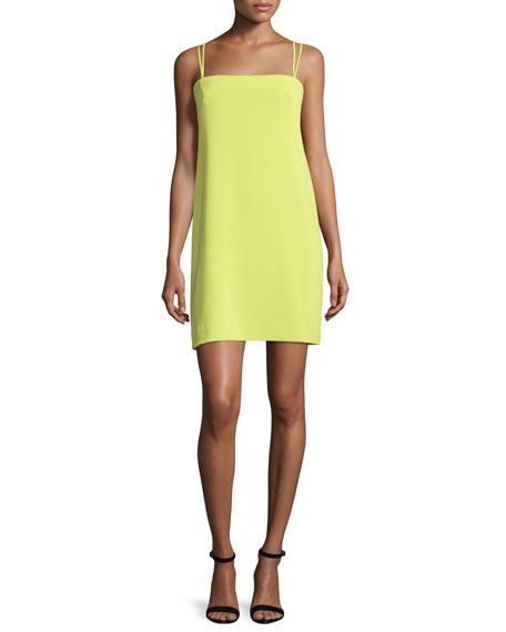 Milly Strappy Seamed Shift Dress, Citron