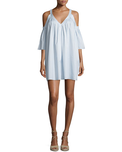 Judith Cold-Shoulder Mini Dress, Water Blue