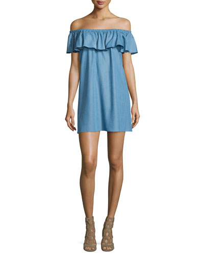 Dev Off-The-Shoulder Ruffle Dress, Light Denim Blue