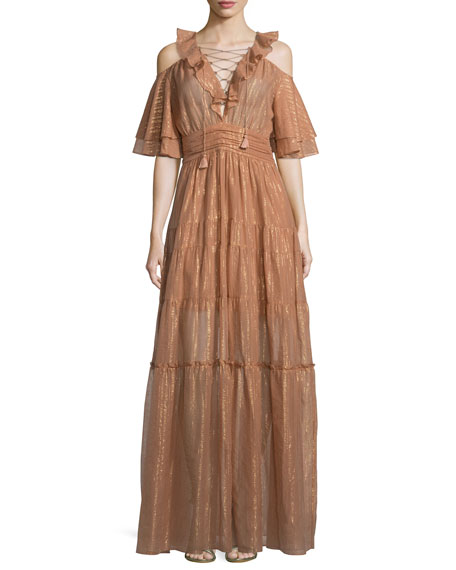 Rachel Zoe Danielle Metallic Tiered Gown, Terracotta