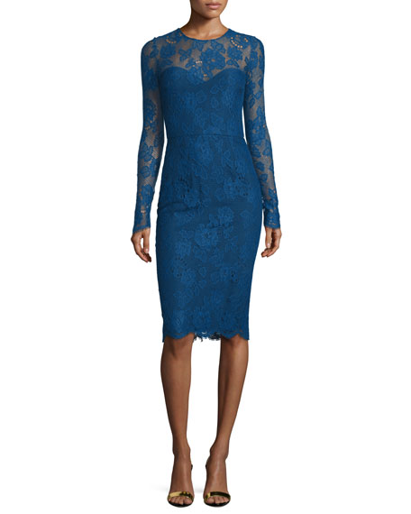 Monique Lhuillier Long-Sleeve Lace Sheath Dress, Royal Blue
