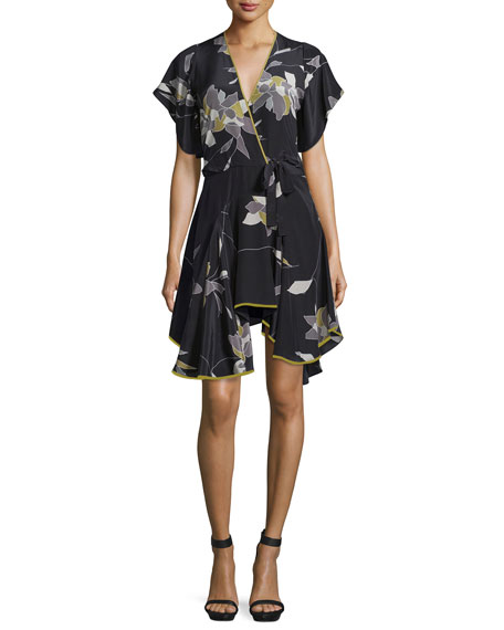 Belted Flounce-Hem Dress, Black/Flowing Petal