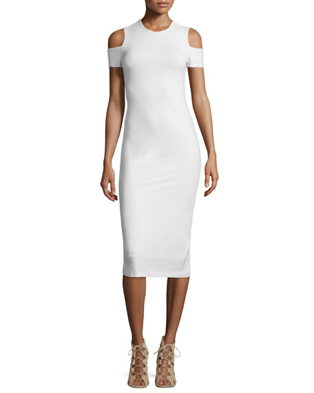 Alice + OliviaMeya Cold-Shoulder Stretch Midi Dress, Cream