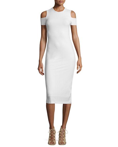 Meya Cold-Shoulder Stretch Midi Dress, Cream