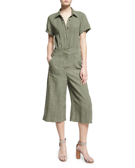 7 For All Mankind Short-Sleeve Button-Front Culotte Jumpsuit,