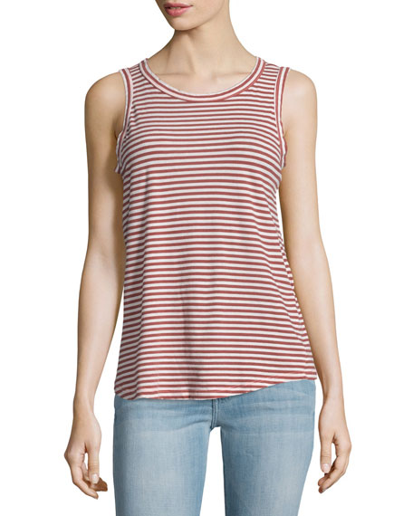 Current/Elliott The Cross Back Striped Muscle Tee, Birkin