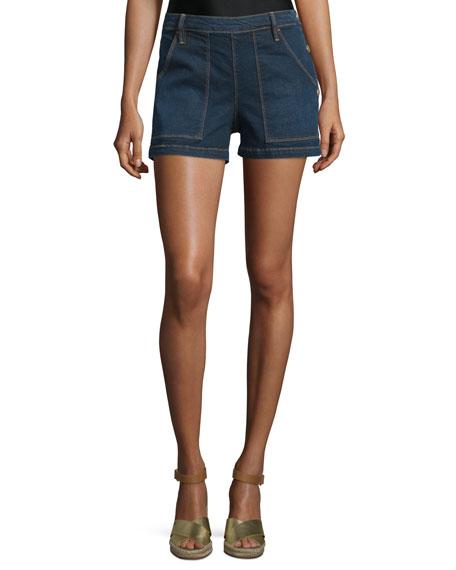 FRAME Antibes Mid-Rise Side-Button Denim Shorts, Avalon