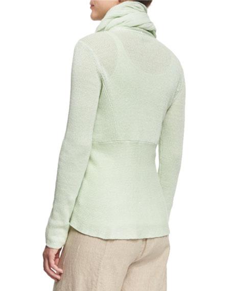 Angled-Front Organic Linen Jacket, Petite