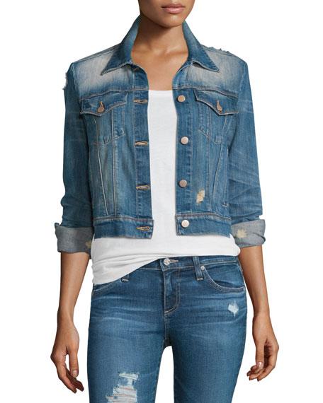 J Brand Jeans Harlow Distressed Shrunken Denim Jacket,