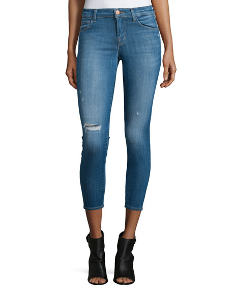 J Brand Jeans Mid-Rise Distressed Cropped Skinny Jeans,