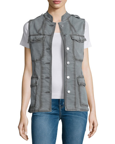 Astrid Button-Front Utility Vest, Distressed Silver