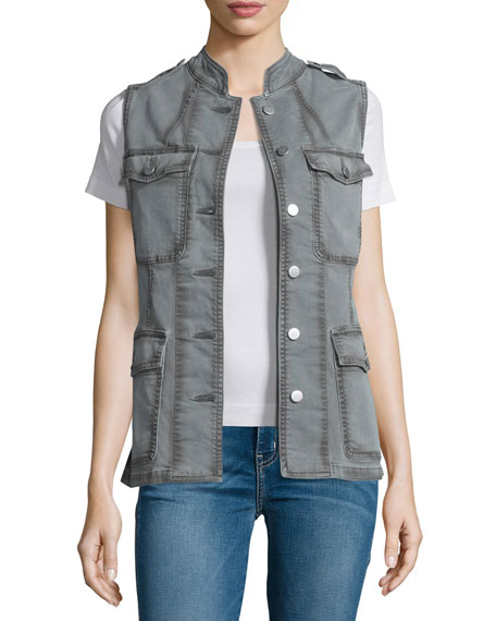 J Brand Jeans Astrid Button-Front Utility Vest, Distressed