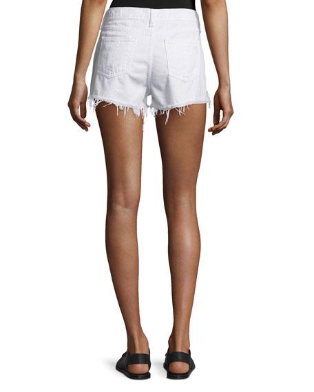 Cutoff Denim Shorts, White Freeport