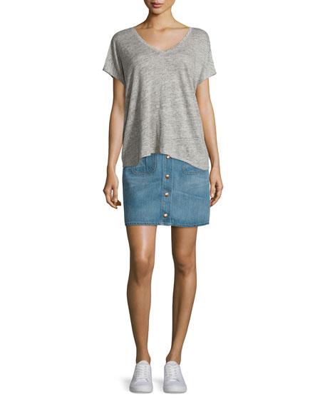 rag & bone/JEAN Santa Cruz Snap-Front Denim Miniskirt, Capitol