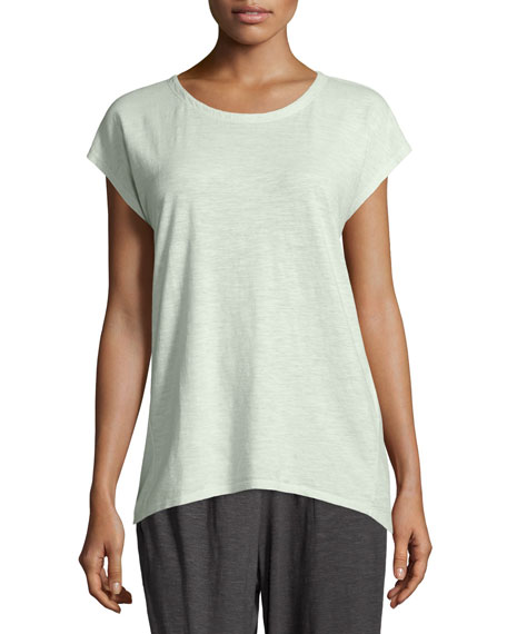 Eileen Fisher Long Cap-Sleeve Hemp Twist Top