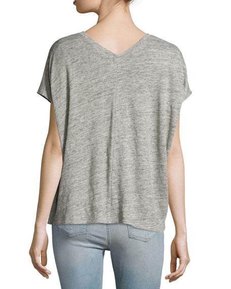 Rag Amp Bone Jean Malibu Linen V Neck T Shirt Heather Gray