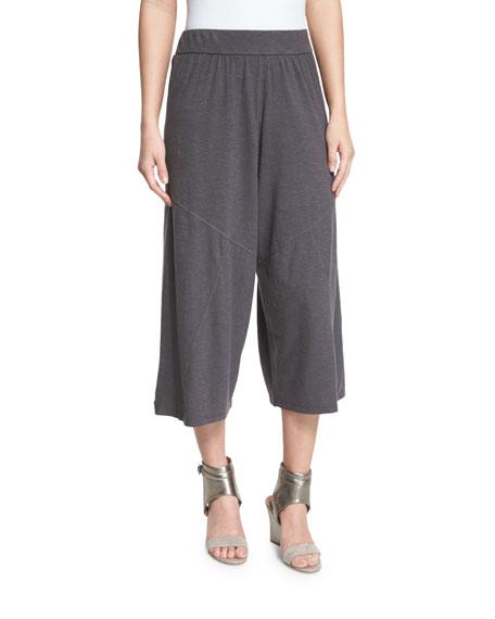 Eileen Fisher Wide-Leg Hemp Twist Cropped Pants, Bark
