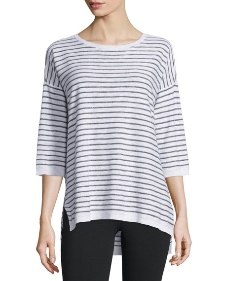 Eileen Fisher Slub Striped Linen/Cotton Tunic, White