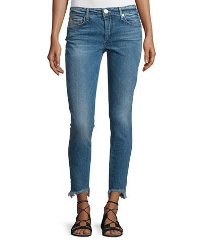 Halle Super-Skinny Raw-Hem Jeans, Gypset Blue