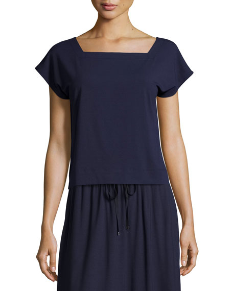 Eileen Fisher Short-Sleeve Square-Neck Box Top, Midnight, Petite