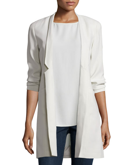 Eileen Fisher Structured Silk Notched-Collar Long Jacket, Petite