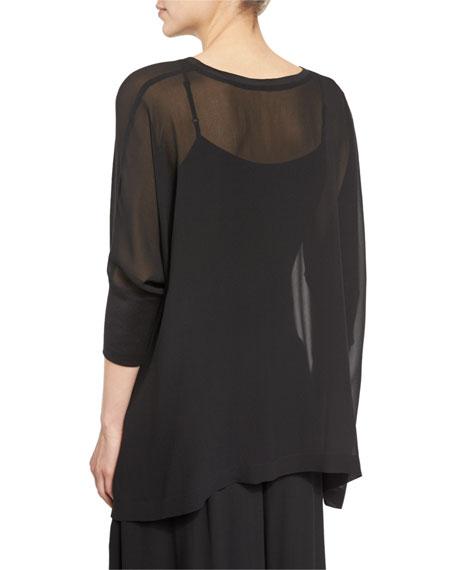 3/4-Sleeve Sheer Silk Top