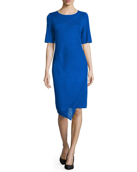 Misook Short-Sleeve Asymmetric Sheath Dress, True Blue