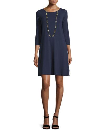 3/4-Sleeve Lightweight Jersey A-line Dress, Petite