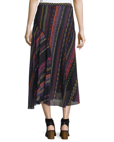 Blanket-Print Seamed Midi Skirt, Black/Multi