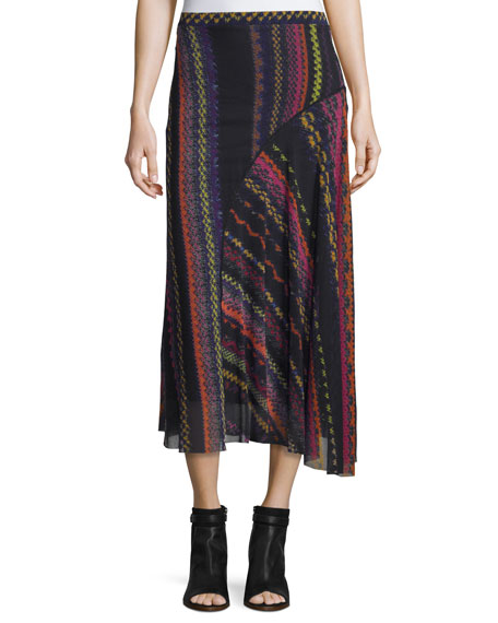 Blanket-Print Seamed Midi Skirt, Black/Multi