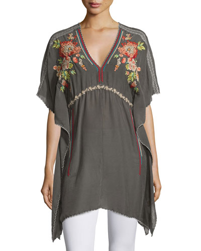 Cherise V-Neck Embroidered Poncho Top, Iron Steel