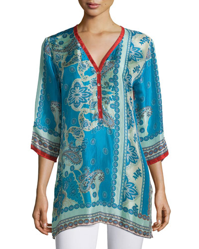 Bessy Button-Front Easy Tunic, Multi Colors, Women's
