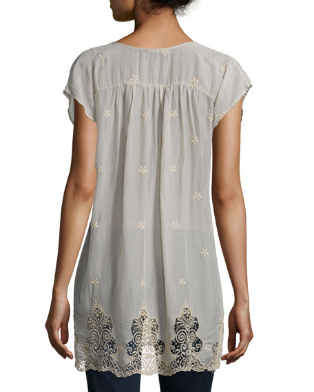 Seal Short-Sleeve Long Lace-Hem Tunic, Plus Size