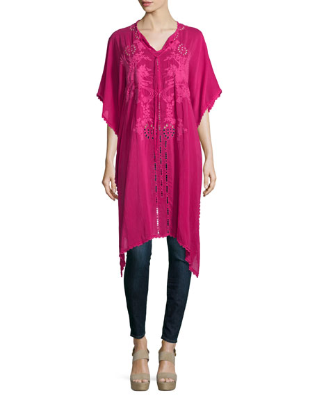 Yoko Half-Sleeve Embroidered Drama Caftan, Pomegranate
