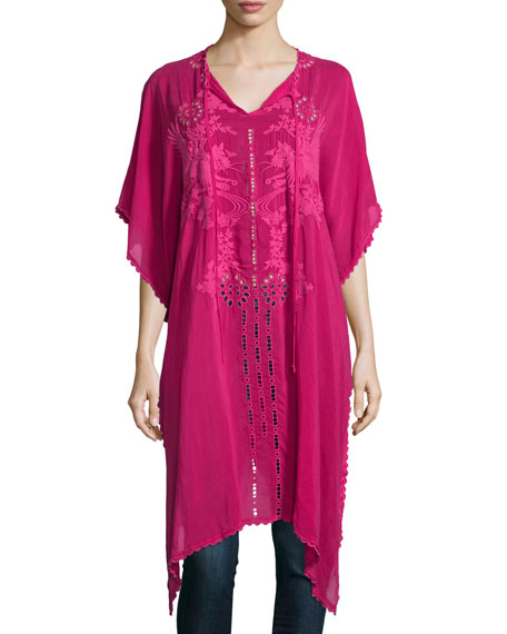 Johnny Was Collection Yoko Half-Sleeve Embroidered Drama Caftan,