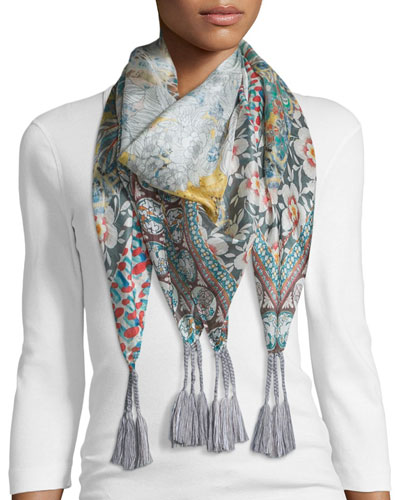 Monika Printed Silk Scarf, Multi Colors
