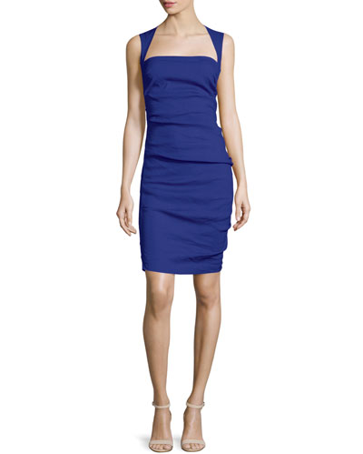 Felicity Sleeveless Square-Neck Ruched Dress