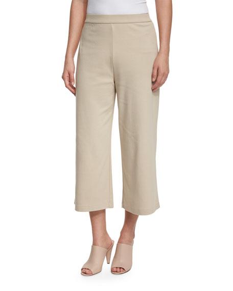 Joan Vass Cropped Wide-Leg Pants, New Linen, Plus