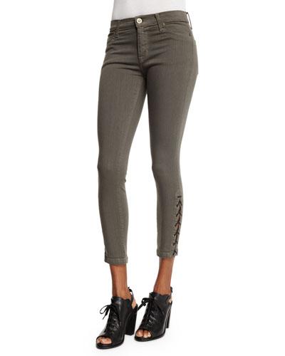 Nix Lace-Up Cropped Jeans, Brunswick Green