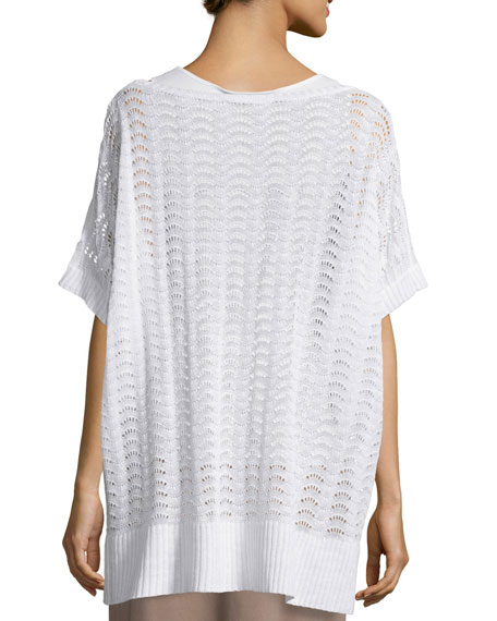 Short-Sleeve Scalloped Easy Sweater, White, Plus Size