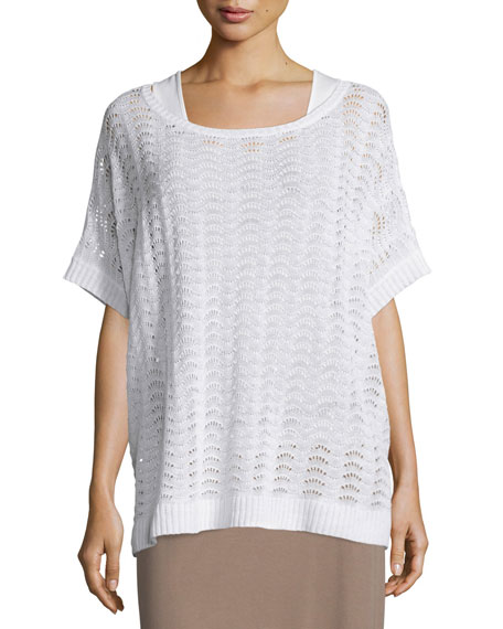 Joan Vass Short-Sleeve Scalloped Easy Sweater, White, Plus