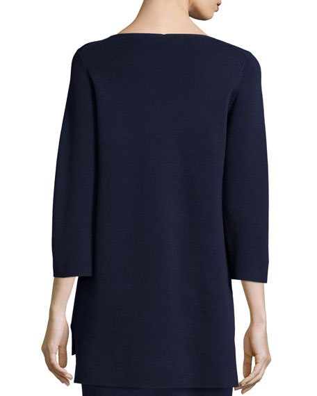 3/4-Sleeve V-Neck Tunic, Midnight, Petite