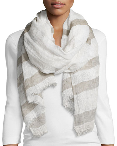 Striped Linen Leno Wave Scarf, Natural